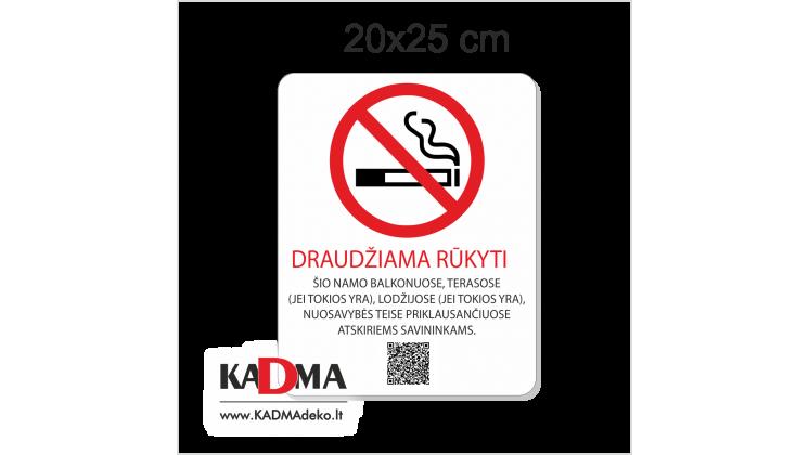 """Lentelė """"DRAUDŽIAMA RŪKYTI"""" 20x25 cm"""