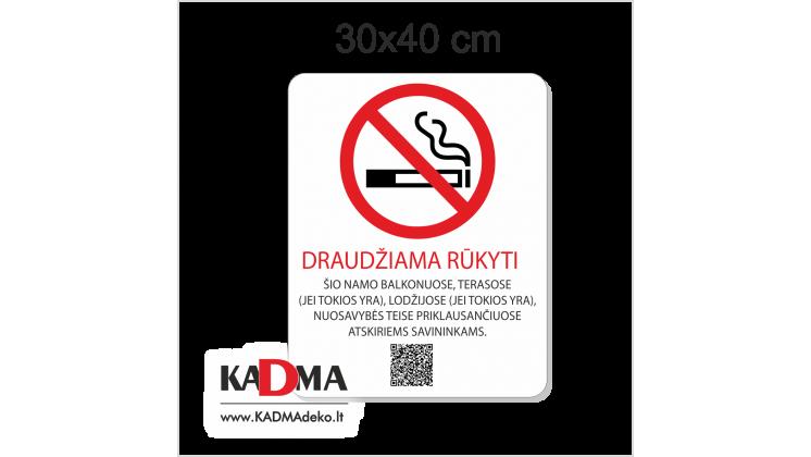 """Lentelė """"DRAUDŽIAMA RŪKYTI"""" 30x40 cm"""
